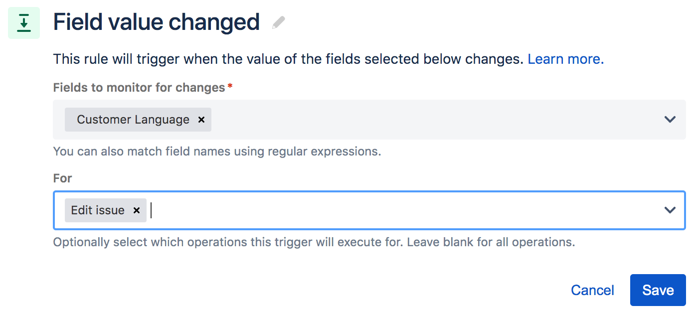 configuration of the field value change when the customer language field is edited
