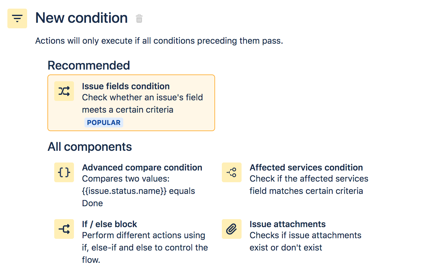 Screen with new automation conditions and the option Issue fields condition is highlighted