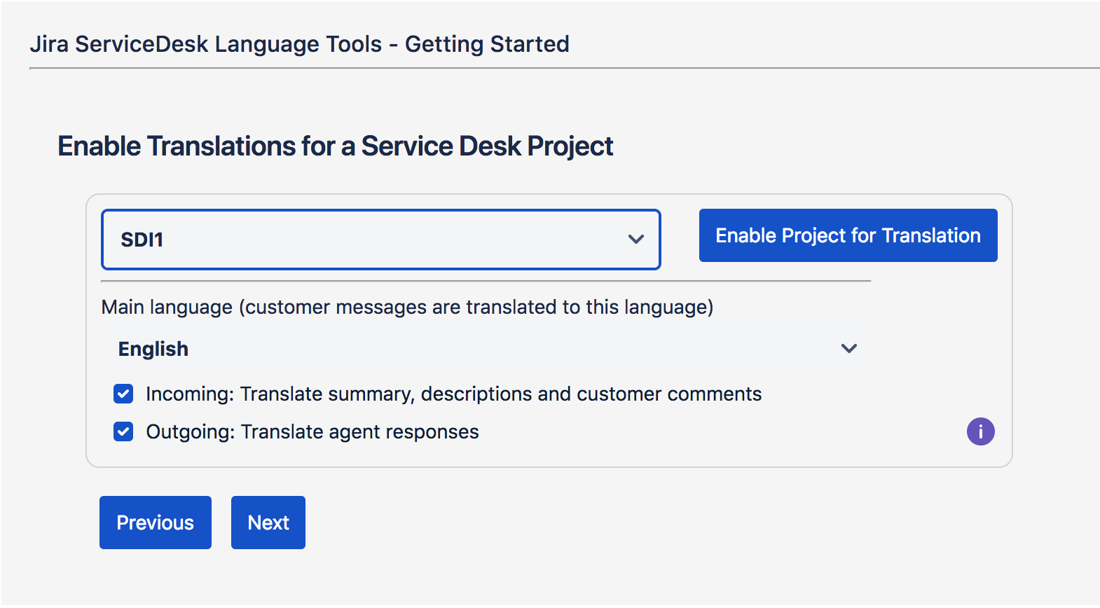 Enable Translation for Service Desk Projects