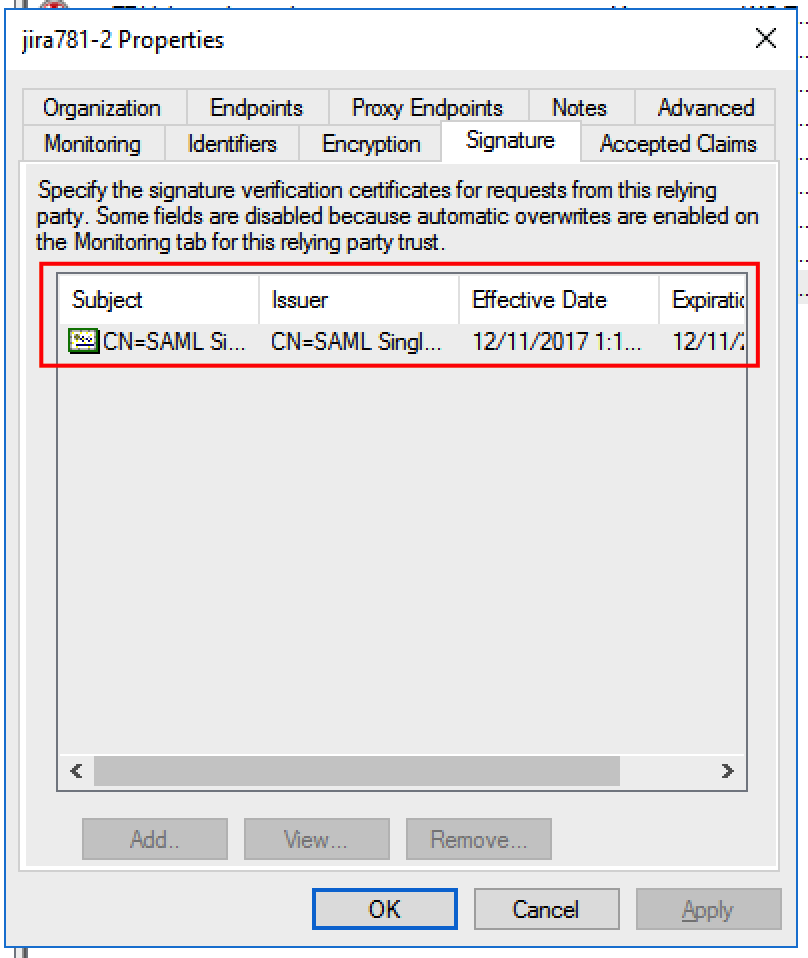 check that the signing certificate and the logout endpoints are included in the configuration