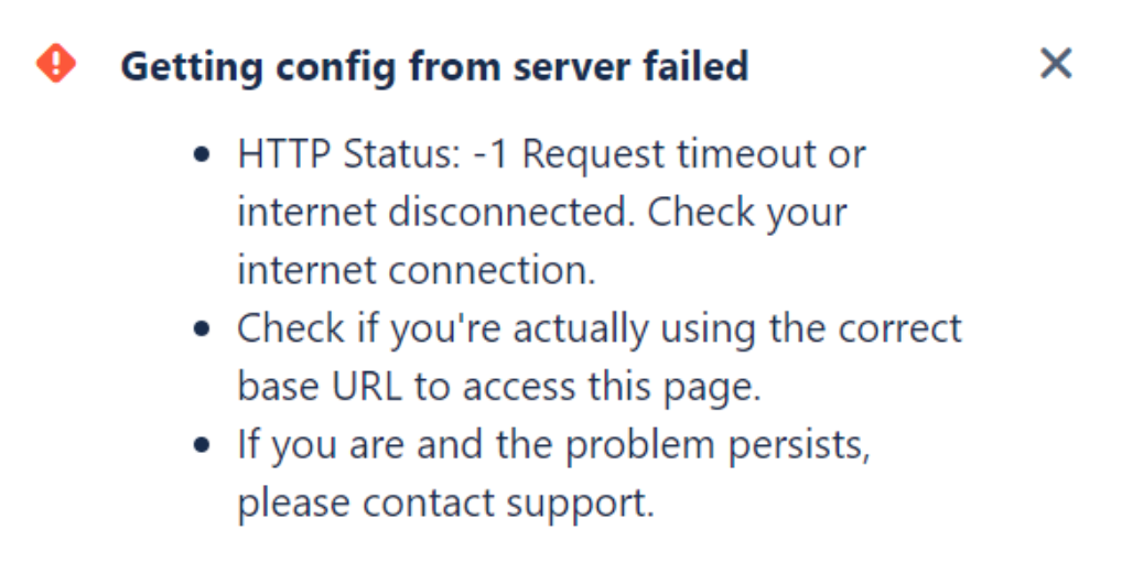 Error Getting Config From Server Failed