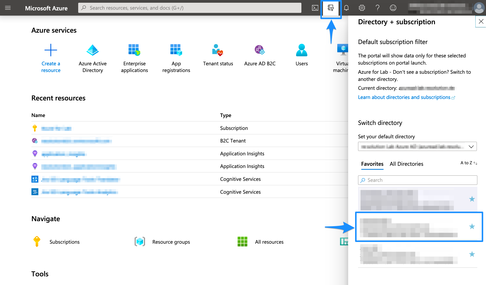 Azure AD B2C Switch Directory