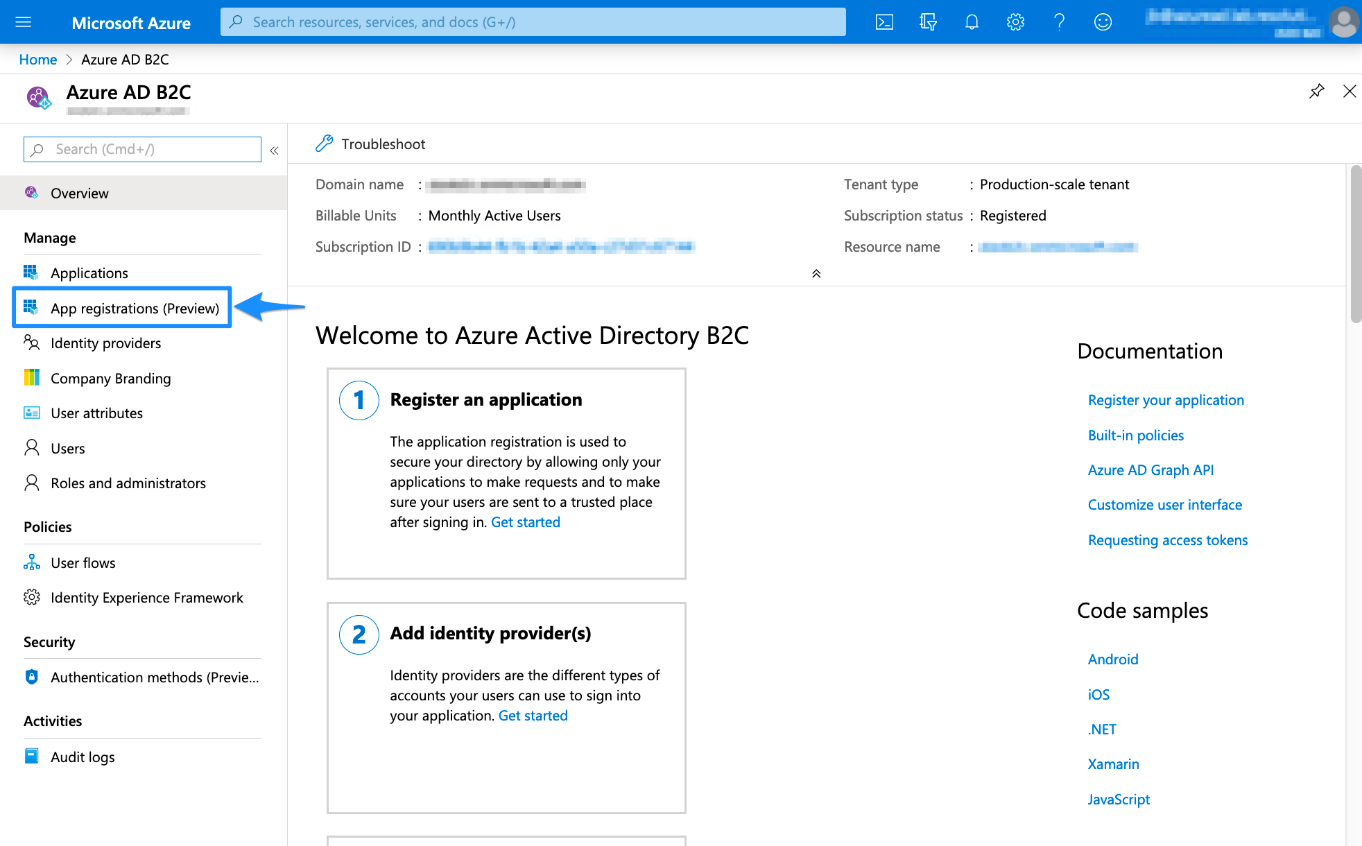 Azure AD B2C App Registration
