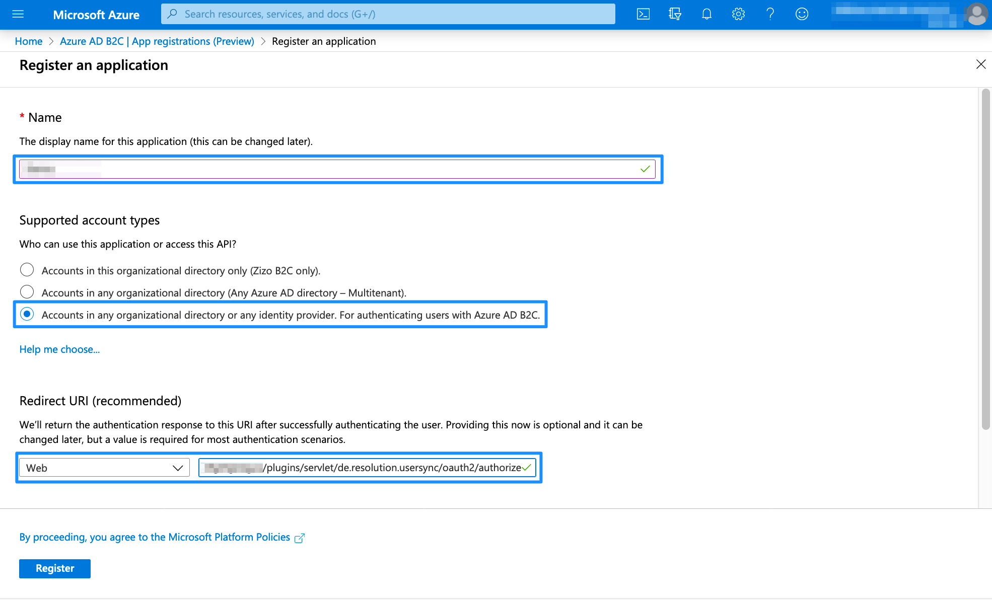 Azure AD B2C Register an app