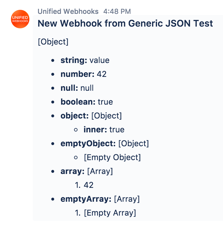 Generic JSON Format Examples - Unified Webhooks for Stride