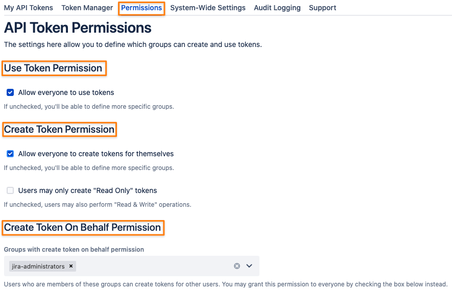 API Token authentication permissions